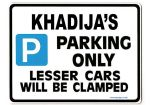 KHADIJA'S Personalised Parking Sign Gift | Unique Car Present for Her |  Size Large - Metal faced